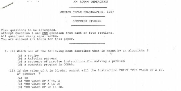 JC Exam 1987