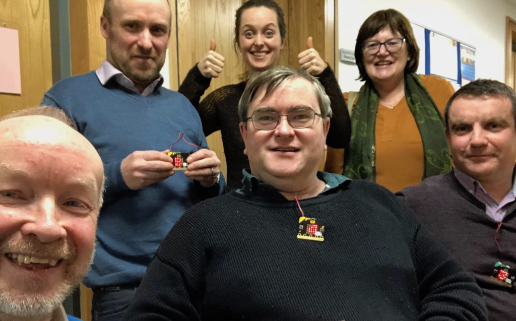 CESI•CS participants having invented a voting system with Micro:bit in Cork, Feb 2018